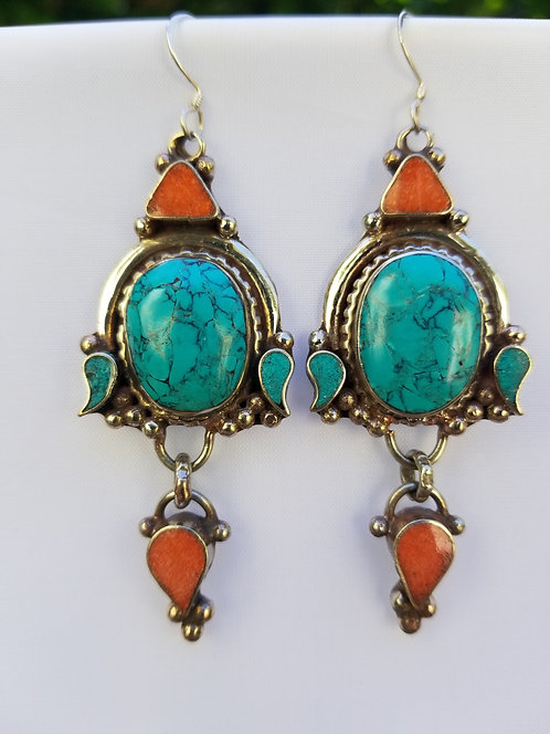 Turquoise,Coral and Silver Drop Earring