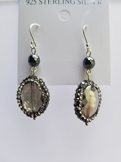 `Smoky Topaz Drop Earring With Pyrite Chips