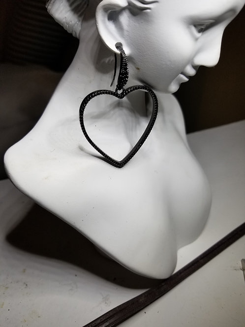 Large Shiny Black Heart Drop Earring