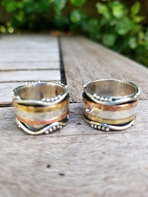 Silver Brass and Copper Spin Ring