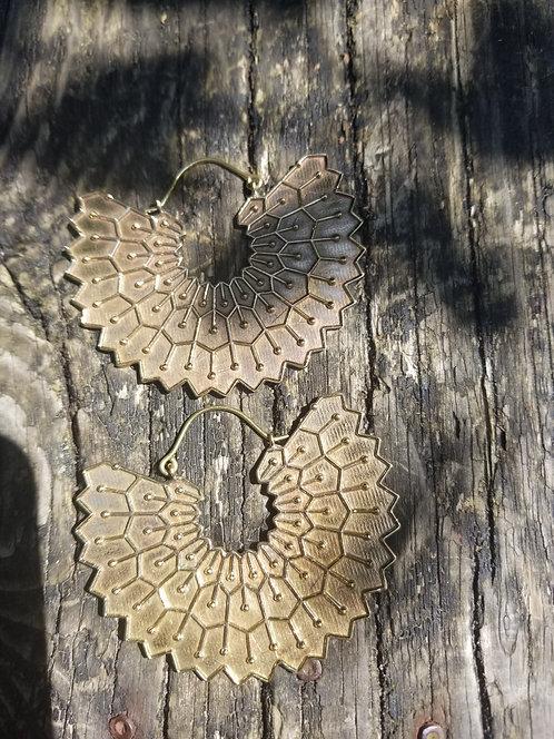 Brass Fan Earring