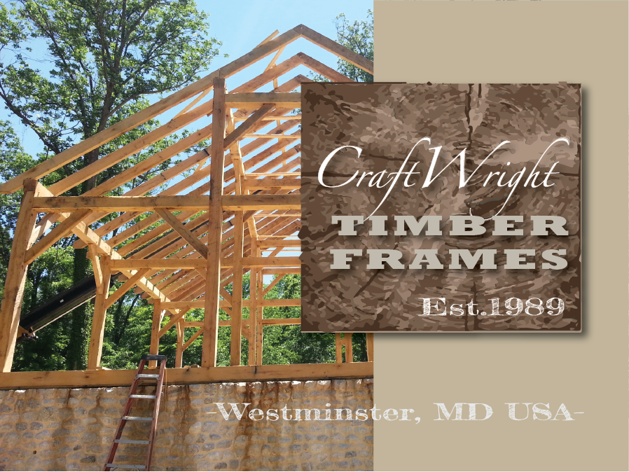 Timber framed barn under construction