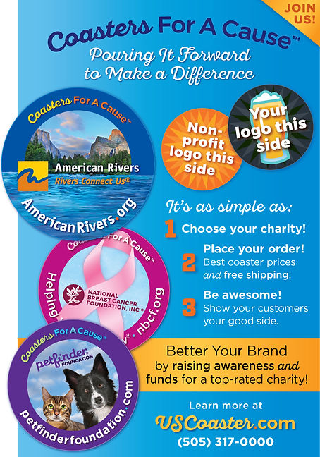 Coasters For A Cause Ad