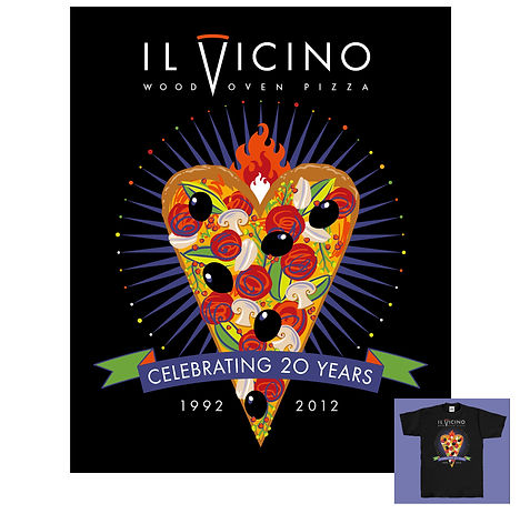 Il Vicino Pizza 20th Anniversary T-shirt Design