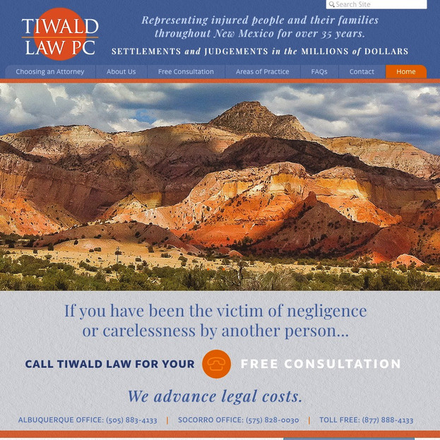 Tiwald Law Firm website