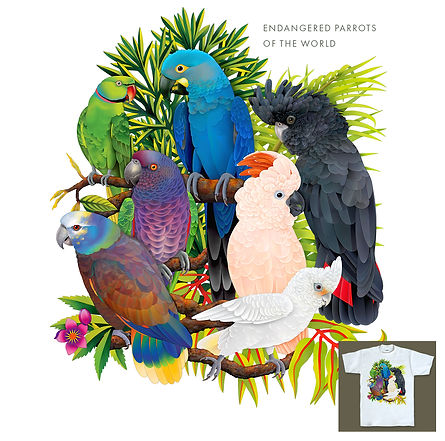 Endangered Parrots of the World T-shirt Design