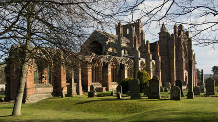 9 Melrose Abbey in morning sunshine crop