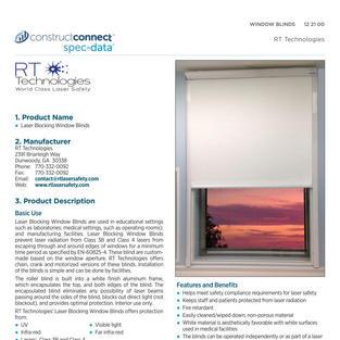 Laser Blocking Blind SPEC DATA Sheet