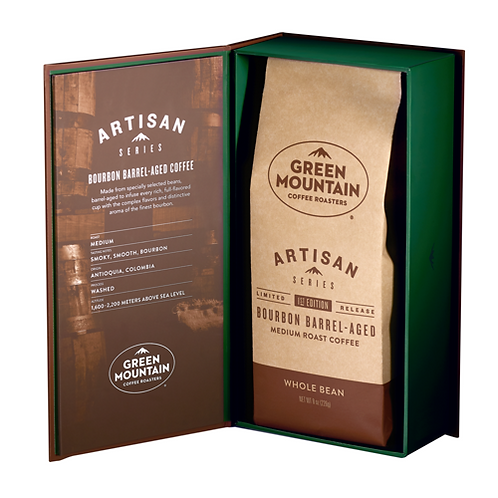 Green Mountain Artisan - Bourbon Barrel-Aged Coffee - Bag - Med Roast - 8oz Bean