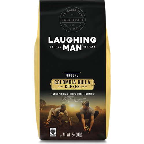 Laughing Man® Colombia Huila Coffee - Bag - Regular - Dark Roast - 12oz Ground