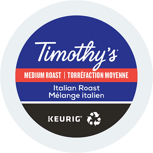 Timothy's® Italian Roast Coffee - K-Cup® - Regular - Med Roast - 24ct