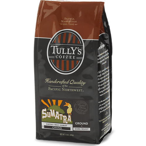 Tully's® Sumatra Coffee - Bagged - Regular - Dark Roast - 12oz Ground