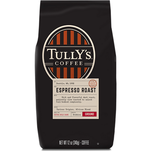 Tully's® Espresso Roast Coffee - Bagged - Regular - Dark Roast - 12 oz. Ground