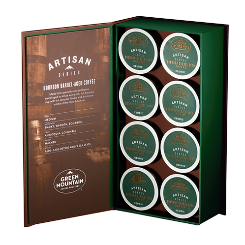 Green Mountain Artisan - Bourbon Barrel-Aged Coffee - K-Cup - Med Roast - 8ct