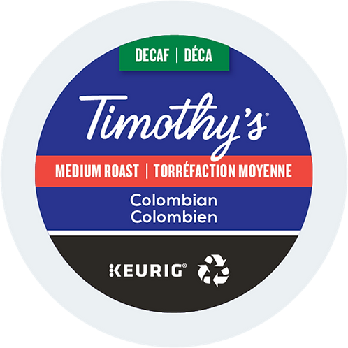 Timothy's® Colombian Decaf Coffee - K-Cup® - Decaf - Med Roast - 24ct