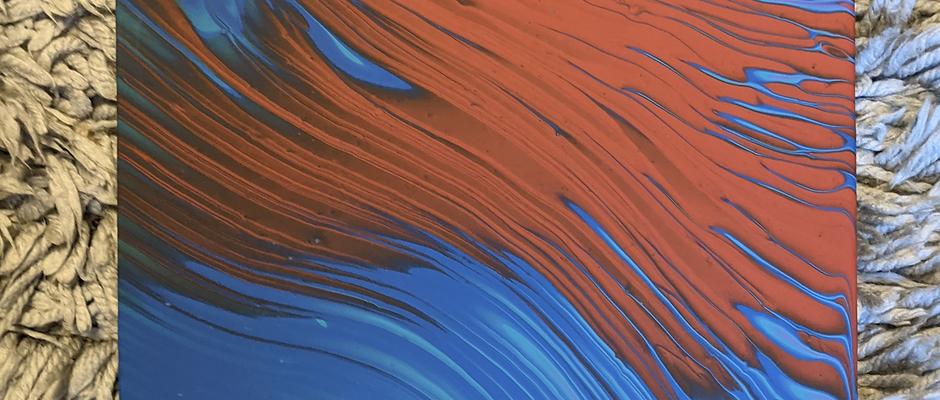 orange/blue pour