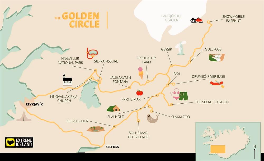 GOLDEN CIRCLE MAP, ICELAND