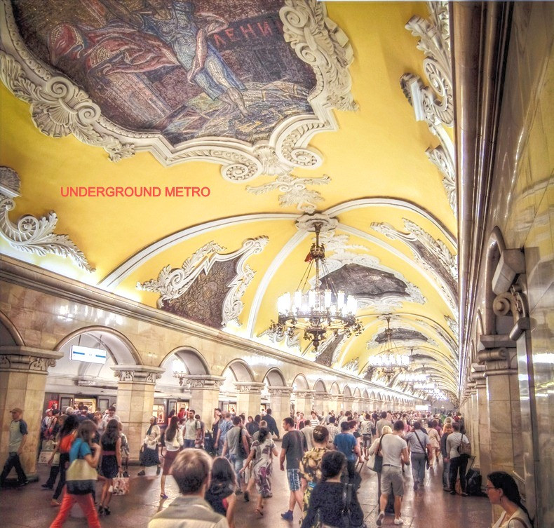 The peopes palaces, underground metro, grand art in moscow
