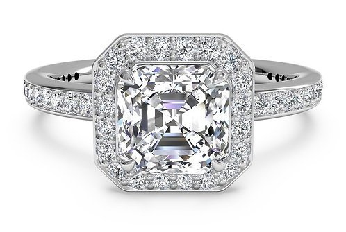 Halo Diamond Band Engagement Ring
