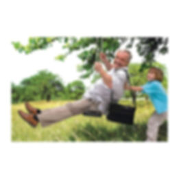 Kid pushing grandpa on swing using oxygen
