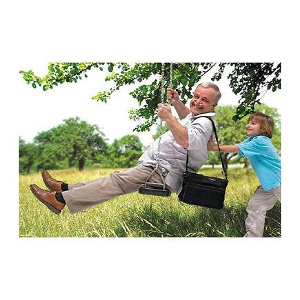 Kid pushing grandpa on swing using oxygen