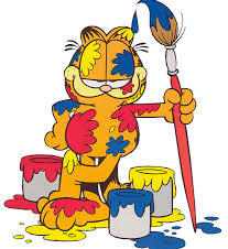 Garfield knows how to have fun with paint!