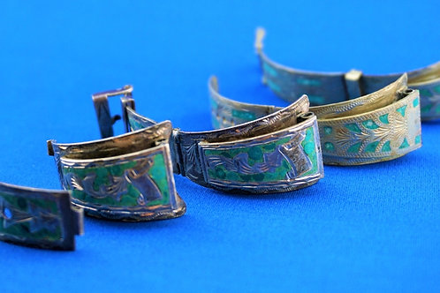 (2) STERLING SILVER AND TURQUOISE WATCH BANDS