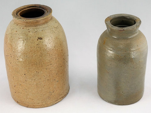 (2) SALT GLAZE STONEWARE CROCKS