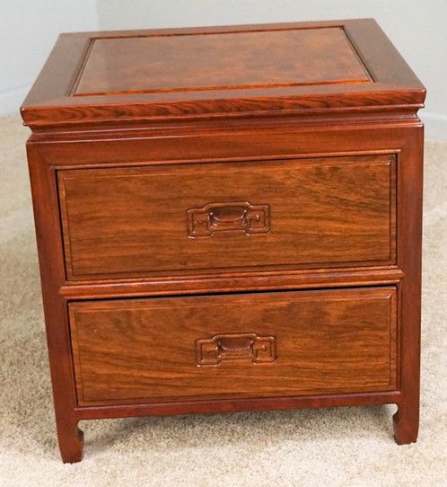 Solid Rosewood 2 Drawer End Table With Panel Sides, Back And Top And Carved  Drawer Pulls
