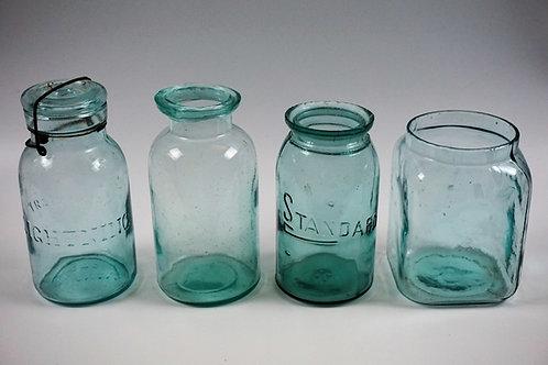 (4) ASSORTED ANTIQUE AQUA GLASS CANNING/FRUIT JARS