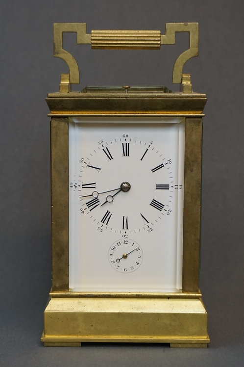 ANTIQUE FRENCH AIGUILLES BRASS CARRIAGE CLOCK