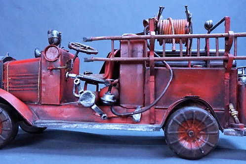 VINTAGE FOLK ART HAND MADE TIN FIRE TRUCK