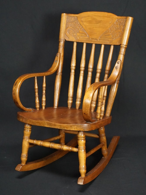 PRESSED BACK OAK CHILD'S ROCKER