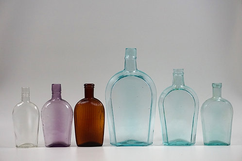 (6) ASSORTED ANTIQUE GLASS WHISKEY FLASKS