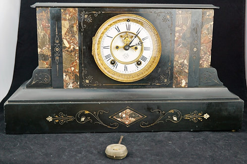 ANTIQUE ANSONIA BLACK MANTLE CLOCK