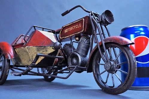 VTG FOLK ART HANDMADE TIN MOTORCYCLE WITH SIDE CAR