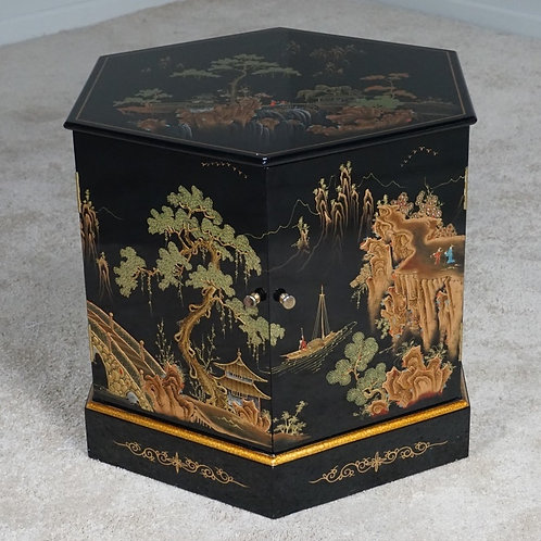 ORIENTAL BLACK LACQUERED HEX TABLE