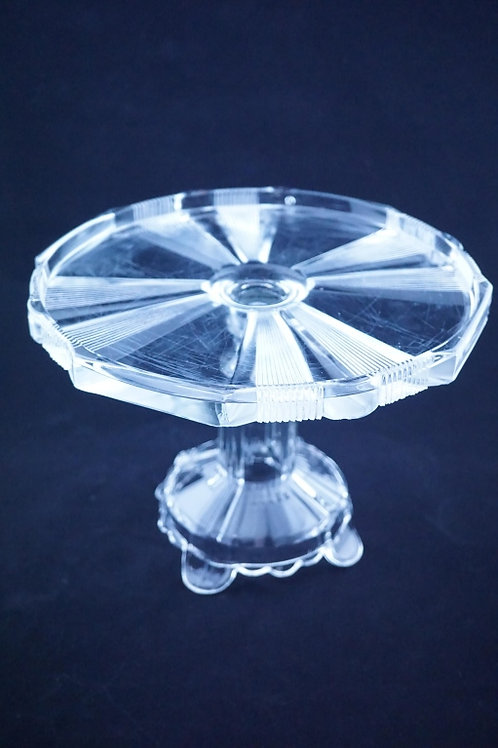 PRESSED GLASS PEDESTAL CAKE PLATE