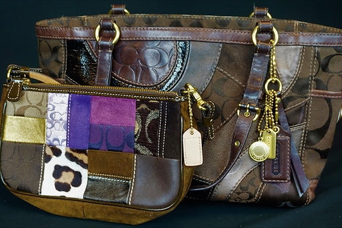 (2) COACH BROWN LEATHER PATCHWORK PURSES