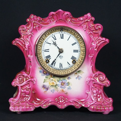 "ANSONIA ""LINE' PORCELAIN MANTLE CLOCK"