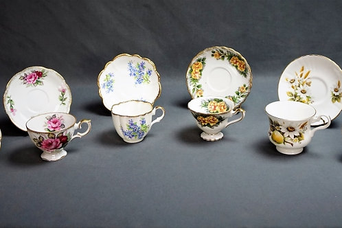 (10) ASSORTED CUPS & SAUCERS