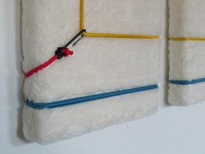 Spiritual Exercise #118 rubber bungee cords on canvas an