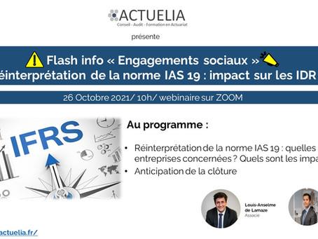 Invitation au Webinaire Flash Info Revue IAS 19 du 26 octobre 2021