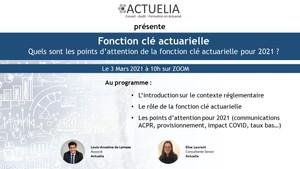 """Invitation au Webinaire Fonction clé """"Spécial fonction actuarielle"""" du 03 mars 2021"""
