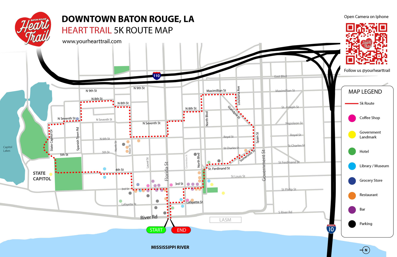 Downtown Baton Rouge Heart Trail