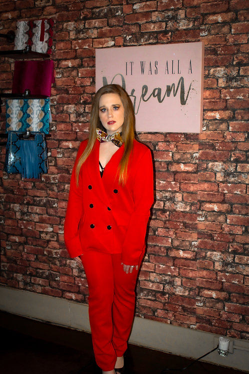 Red Two Piece Pants Pants Suit
