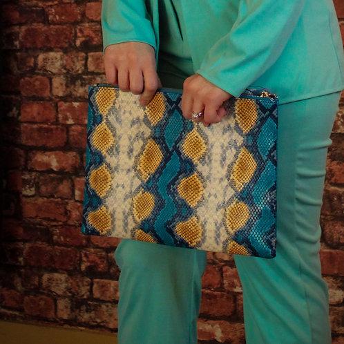 Snakeskin Handbag (Blu & Gold)
