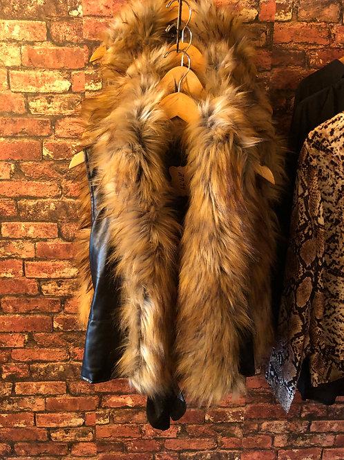Leather Vest w/ Fur Trim