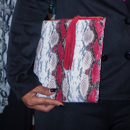 Snakeskin Handbag (Red & Black)