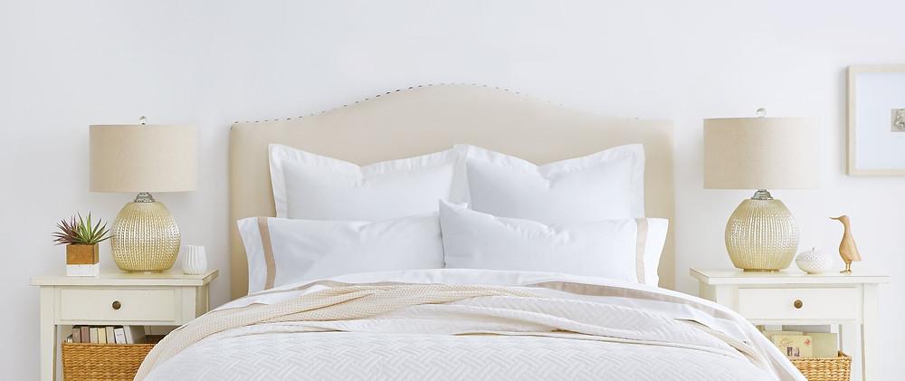 Organic cotton bedding over a custom mattress